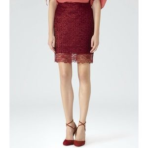 Reiss Dark Red Dree Lace Pencil Skirt Size 4